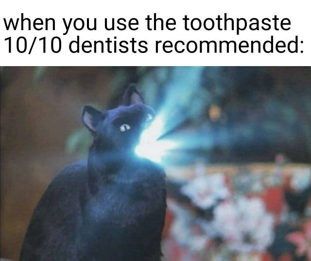 Black cat - when you use the toothpaste 10/10 dentists recommended: