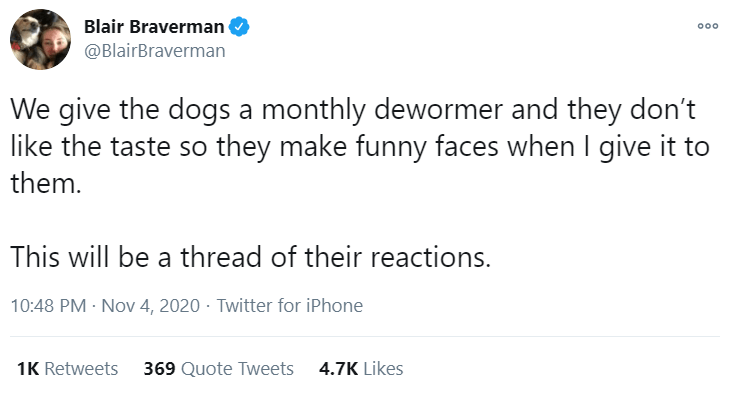 Text - Blair Braverman 000 @BlairBraverman We give the dogs a monthly dewormer and they don't like the taste so they make funny faces when give it to them. This will be a thread of their reactions. 10:48 PM - Nov 4, 2020 · Twitter for iPhone 1K Retweets 369 Quote Tweets 4.7K Likes