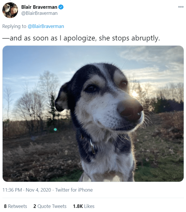 Dog - Blair Braverman 000 @BlairBraverman Replying to @BlairBraverman -and as soon as I apologize, she stops abruptly. 11:36 PM · Nov 4, 2020 · Twitter for iPhone 8 Retweets 2 Quote Tweets 1.8K Likes