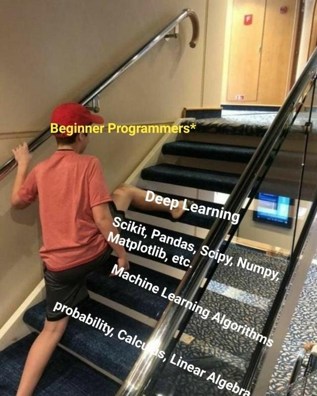 Stairs - Beginner Programmers* Deep Learning Scikit, Pandas, Scipy, Numpy, Matplotlib, etc. Machine Learning Algorithms probability, Calcu as, Linear Algebra