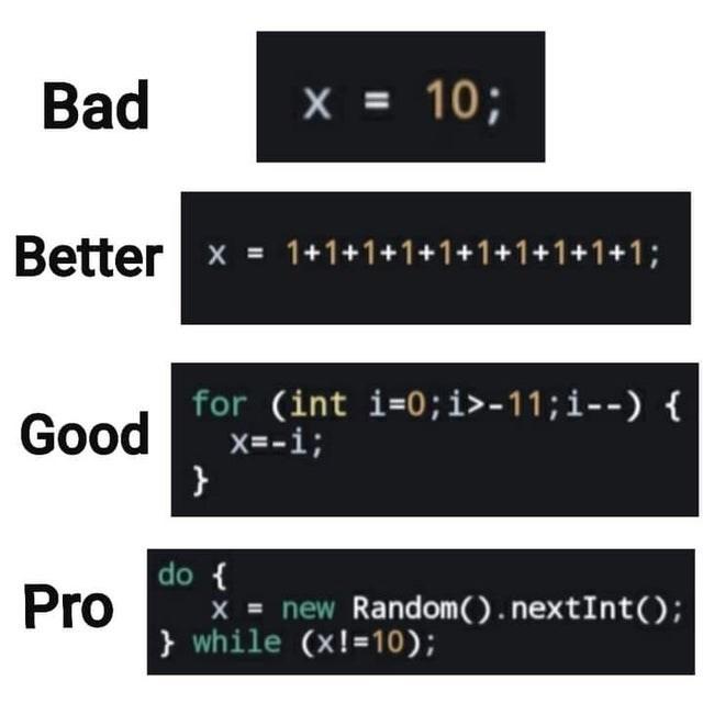 Text - Bad X = 10; Better x = 1+1+1+1+1+1+1+1+1+1; for (int i=0;i>-11;i--) x=-i; } Good do { X = new Random().nextInt(); } while (x!=10); Pro