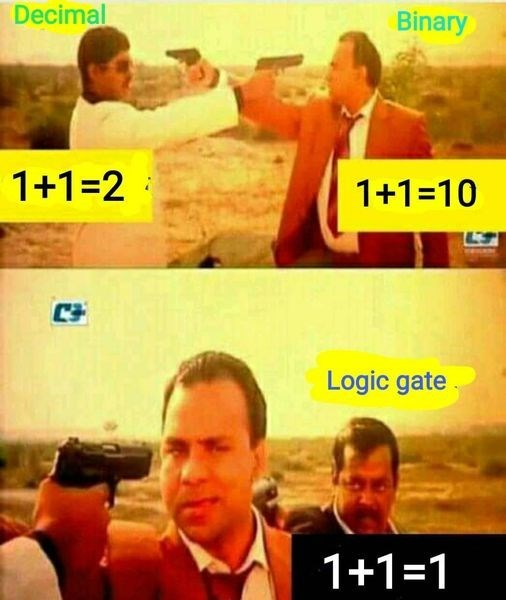Movie - Decimal Binary 1+1=2 1+1=10 Logic gate 1+1=1