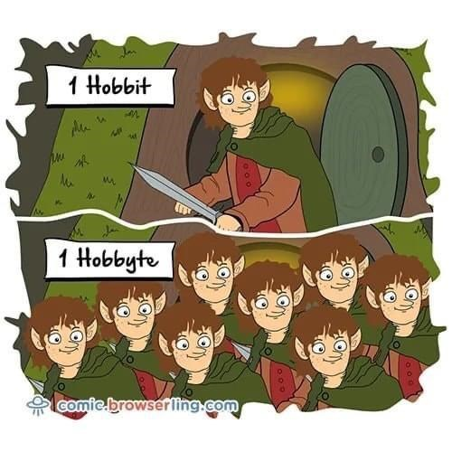 Cartoon - 1 Hobbit 1 Hobbyte comie.browserling.com