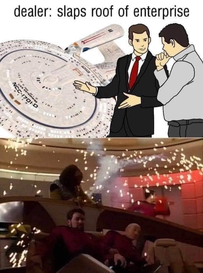 Illustration - dealer: slaps roof of enterprise US ENTERPRISE NEC-1701D Wwww.