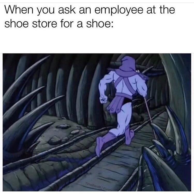 Cartoon - When you ask an employee at the shoe store for a shoe: TimeBiandt Fun