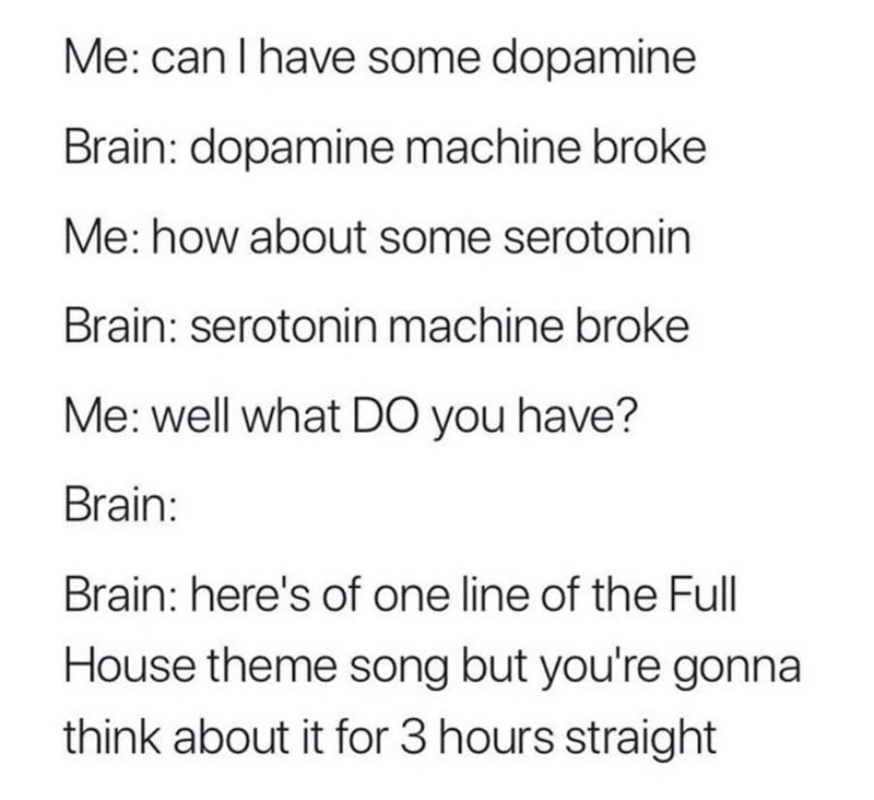 Text - Me: can I have some dopamine Brain: dopamine machine broke Me: how about some serotonin Brain: serotonin machine broke Me: well what DO you have? Brain: Brain: here's of one line of the Full House theme song but you're gonna think about it for 3 hours straight
