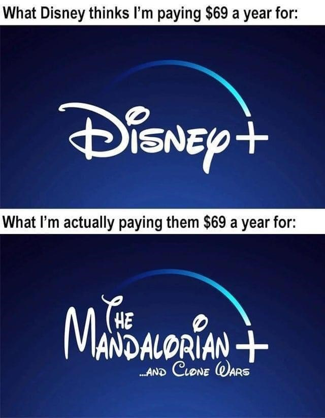Text - Text - What Disney thinks I'm paying $69 a year for: What l'm actually paying them $69 a year for: MANDALORIAN+ (HE .AND CLONE WARS