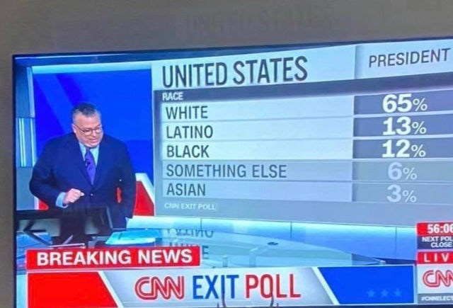 News - PRESIDENT UNITED STATES RACE 65% 13% 12% 6% 3% WHITE LATINO BLACK SOMETHING ELSE ASIAN CNN EXIT POLL 56:06 NEXT POL CLOSE BREAKING NEWS LIV CN CN EXIT POLL FCHNELECT