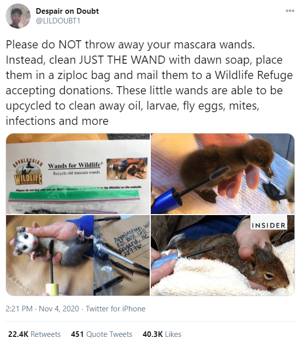 Despair on Doubt @LILDOUBT1 000 Please do NOT throw away your mascara wands. Instead, clean JUST THE WAND with dawn soap, place them in a ziploc bag and mail them to a Wildlife Refuge accepting donations. These little wands are able to be upcycled to clean away oil, larvae, fly eggs, mites, infections and more PALACNIA Wands for Wildlife WILDLIFF Recycle old mascara wands Pese deetNY Wdr he INSIDER SANand, NC 28776 Appalachian 2:21 PM - Nov 4, 2020 · Twitter for iPhone 22.4K Retweets 451 Quote T