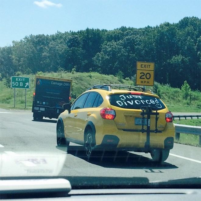Vehicle - EXIT 20 MPH. EXIT Wa Damage DMV 50 B A JUST Divorced