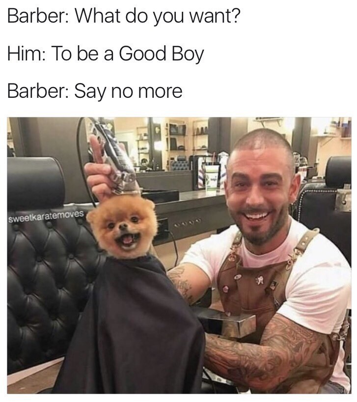 Photo caption - Barber: What do you want? Him: To be a Good Boy Barber: Say no more sweetkaratemoves 6000