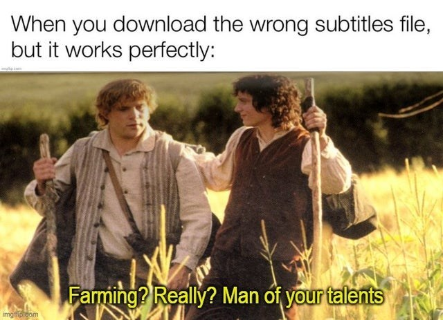 Text - When you download the wrong subtitles file, but it works perfectly: Farming? Really? Man óf your talents imgfilp com