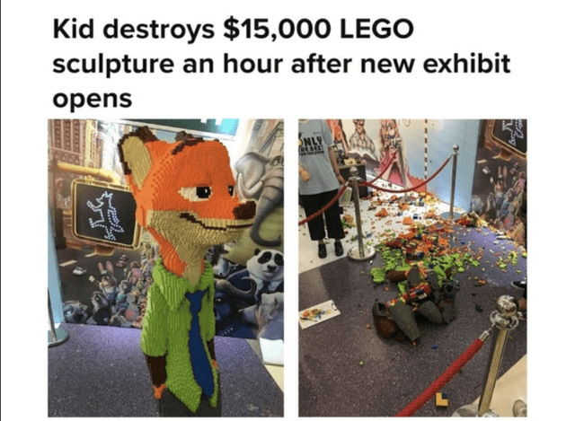 Organism - Kid destroys $15,000 LEGO sculpture an hour after new exhibit opens NLY