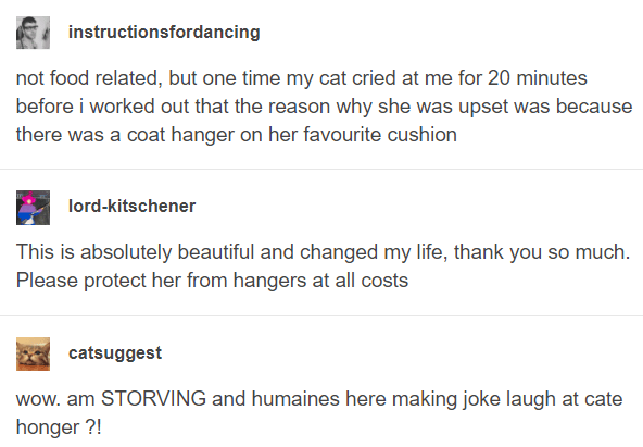 Text - instructionsfordancing not food related, but one time my cat cried at me for 20 minutes before i worked out that the reason why she was upset was because there was a coat hanger on her favourite cushion lord-kitschener This is absolutely beautiful and changed my life, thank you so much. Please protect her from hangers at all costs catsuggest wow. am STORVING and humaines here making joke laugh at cate honger ?!