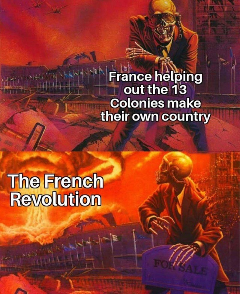 Poster - France helping out the 13 Colonies make their own country The French Revolution FOR SALE