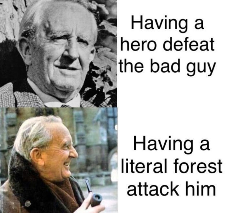 Text - Having a hero defeat the bad guy Having a literal forest attack him