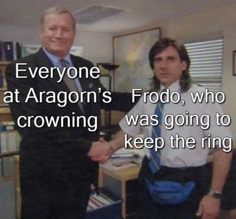 Photo caption - Everyone at Aragorn's Frodo, who crowning was going to keep the ring