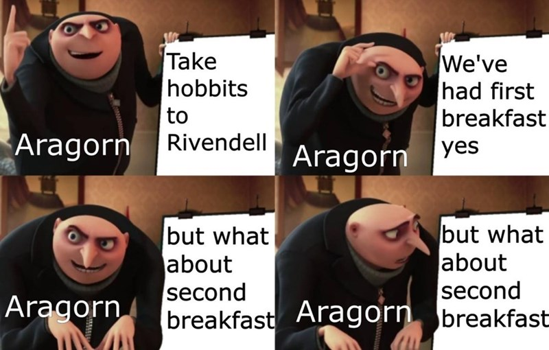 Facial expression - Take hobbits We've had first breakfast to Aragorn Rivendell yes Aragorn but what about but what about second breakfast Aragorn breakfast second Aragorn