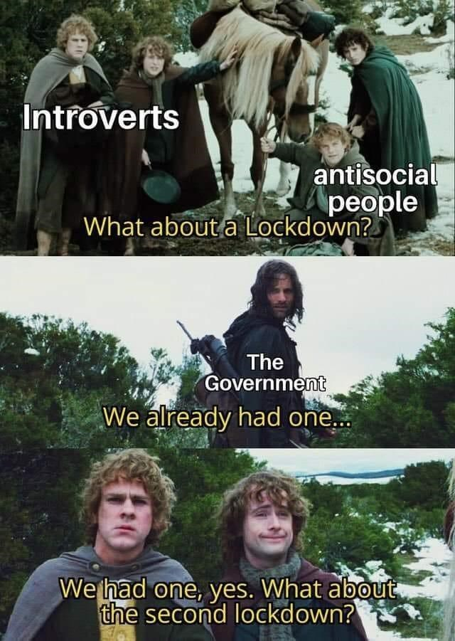 Photo caption - Introverts antisocial people What about a Lockdown? The Government We already had one.. We had one, yes. What about the second lockdown?