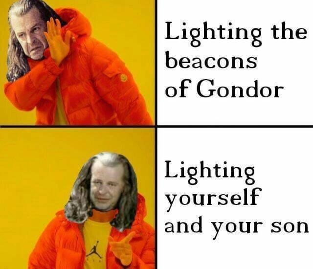Text - Lighting the beacons of Gondor Lighting yourself and your sohn