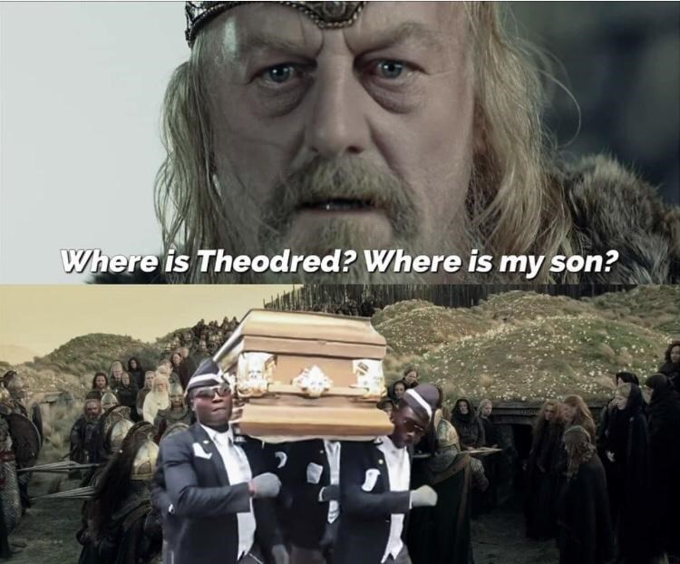 Photo caption - Where is Theodred? Where is my son?