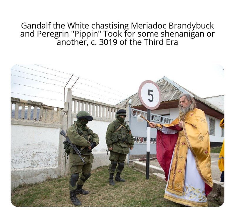 """Military uniform - Gandalf the White chastising Meriadoc Brandybuck and Peregrin """"Pippin"""" Took for some shenanigan or another, c. 3019 of the Third Era"""