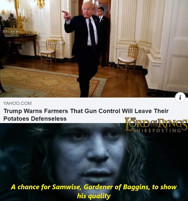 Facial expression - YAHOO.COM Trump Warns Farmers That Gun Control Will Leave Their Potatoes Defenseless JORDA PINGS THE SHIREPOSTING A chance for Samwise, Gardener of Baggins, to show his quality