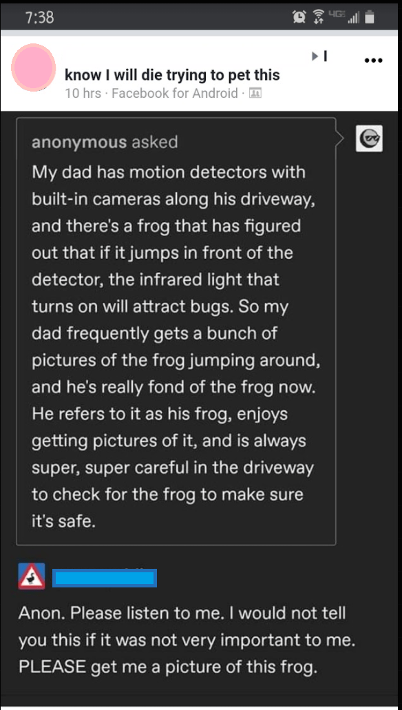 Text - 7:38 ... know I will die trying to pet this 10 hrs · Facebook for Android anonymous asked My dad has motion detectors with built-in cameras along his driveway, and there's a frog that has figured out that if it jumps in front of the detector, the infrared light that turns on will attract bugs. So my dad frequently gets a bunch of pictures of the frog jumping around, and he's really fond of the frog now. He refers to it as his frog, enjoys getting pictures of it, and is always super, super