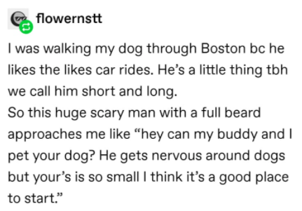"""Text - flowernstt I was walking my dog through Boston bc he likes the likes car rides. He's a little thing tbh we call him short and long. So this huge scary man with a full beard approaches me like """"hey can my buddy and I pet your dog? He gets nervous around dogs but your's is so small I think it's a good place to start."""""""