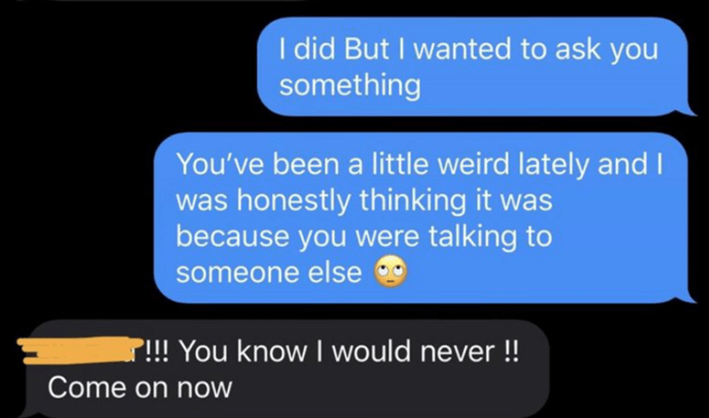 Text - I did But I wanted to ask you something You've been a little weird lately and I was honestly thinking it was because you were talking to someone else P!!! You know I would never ! Come on now