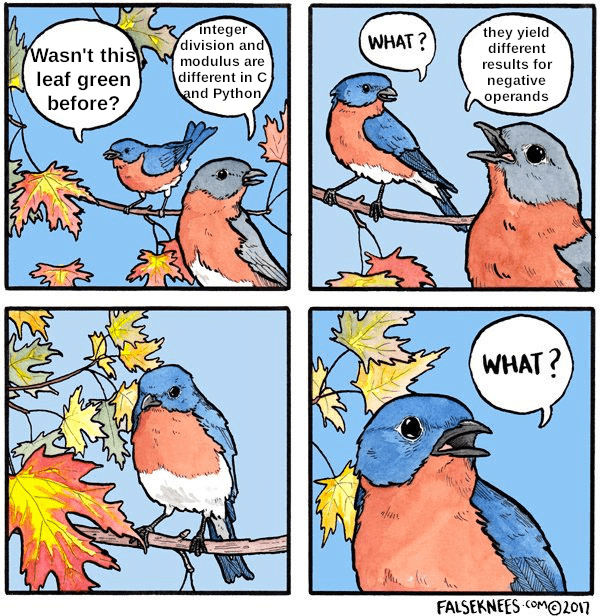 Bird - Integer division and WHAT? they yield different Wasn't this leaf green before? modulus are different in C and Python results for negative operands WHAT? FALSEKNEES COMMO2017