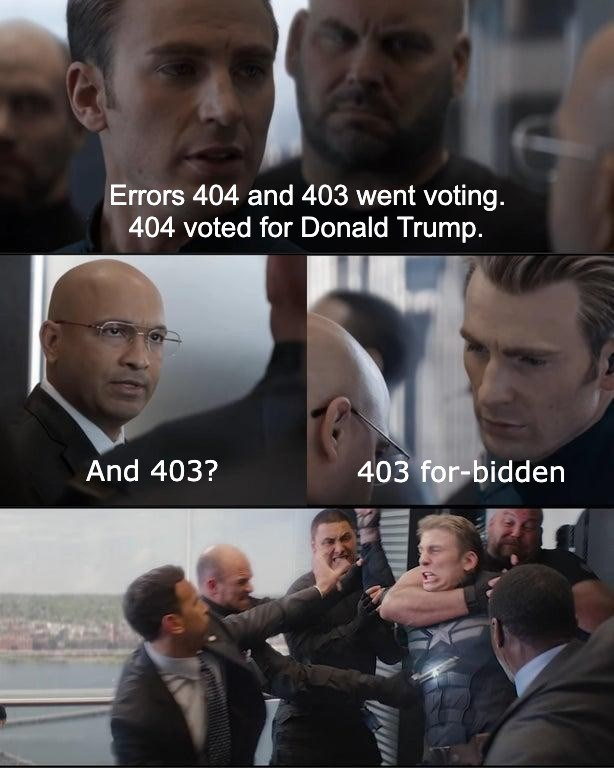Facial expression - Errors 404 and 403 went voting. 404 voted for Donald Trump. And 403? 403 for-bidden