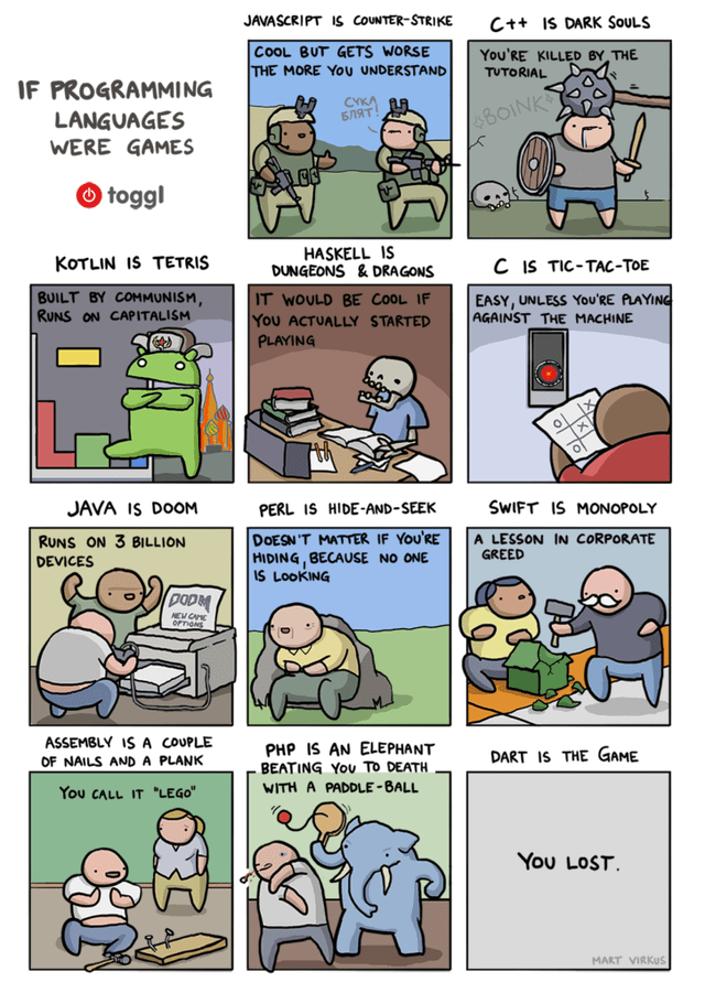 Cartoon - JAVASCRIPT 1s COUNTER-STRIKE C++ IS DARK SOULS COOL BUT GETS WORSE THE MORE YOU UNDERSTAND You'RE KILLED BY THE TUTORIAL IF PROGRAMMING LANGUAGES CYKA БЛЯТ BOINK WERE GAMES O toggl HASKELL IS DUNGEONS & DRAGONS KOTLIN IS TETRIS C IS TIC-TAC-TOE BUILT BY COMMUNISM, RUNS ON CAPITALISM IT WOULD BE COOL IF You ACTUALLY STARTED PLAYING EASY, UNLESS YoU'RE PLAYING AGAINST THE MACHINE JAVA IS DOOM PERL IS HIDE-AND-SEEK SWIFT IS MONOPOLY RUNS ON 3 BILLION DEVICES DOESN 'T MATTER IF YOU'RE HIDI