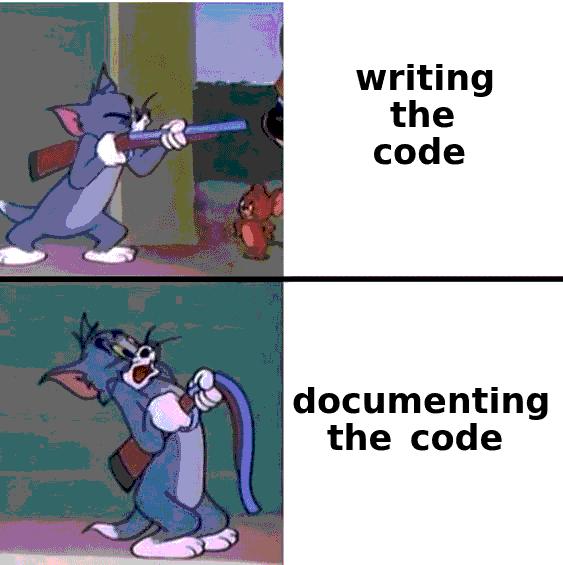 Cartoon - writing the code documenting the code