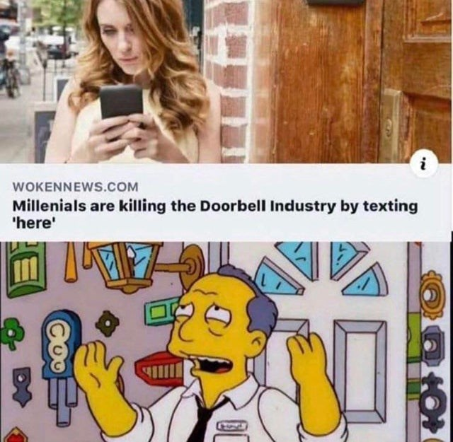 Cartoon - WOKENNEWS.COM Millenials are killing the Doorbell Industry by texting 'here'