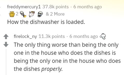 Text - freddymercury1 37.8k points · 6 months ago 2 & 2 More How the dishwasher is loaded. firelock_ny 11.3k points · 6 months ago The only thing worse than being the only one in the house who does the dishes is being the only one in the house who does the dishes properly.