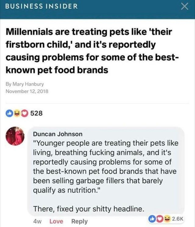 "Text - BUSINESS INSIDER Millennials are treating pets like 'their firstborn child,' and it's reportedly causing problems for some of the best- known pet food brands By Mary Hanbury November 12, 2018 O0 528 Duncan Johnson ""Younger people are treating their pets like living, breathing fucking animals, and it's reportedly causing problems for some of the best-known pet food brands that have been selling garbage fillers that barely qualify as nutrition."" There, fixed your shitty headline. 2.6K 4w Lo"