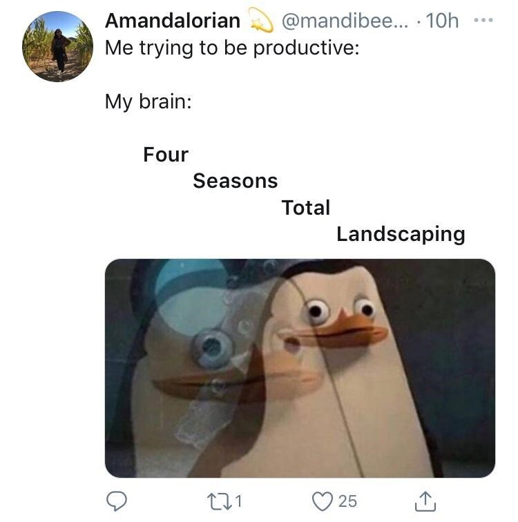 Text - Amandalorian @mandibee... · 10h ... Me trying to be productive: My brain: Four Seasons Total Landscaping 25