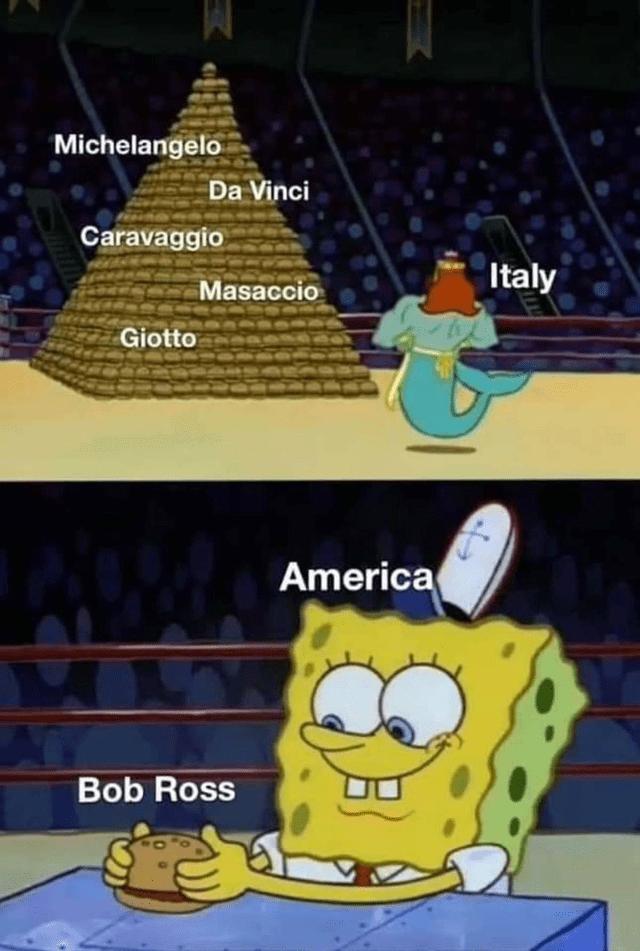 Cartoon - Michelangelo Da Vinci Caravaggio Italy Masaccio Giotto America Bob Ross