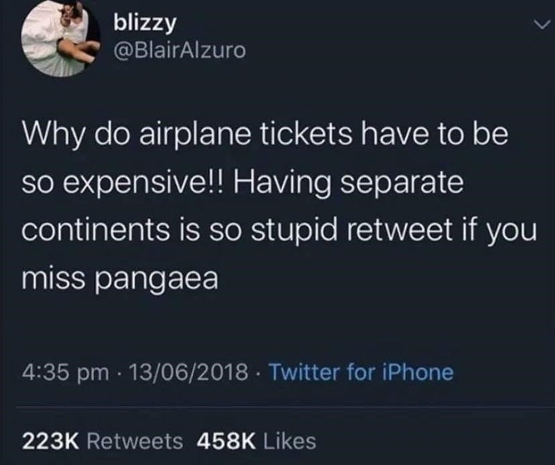 Text - blizzy @BlairAlzuro Why do airplane tickets have to be so expensive!! Having separate continents is so stupid retweet if you miss pangaea 4:35 pm · 13/06/2018 · Twitter for iPhone 223K Retweets 458K Likes