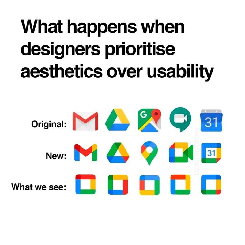 Text - What happens when designers prioritise aesthetics over usability G. Original: MAW O 31 New: M A 31 C O O O O What we see: