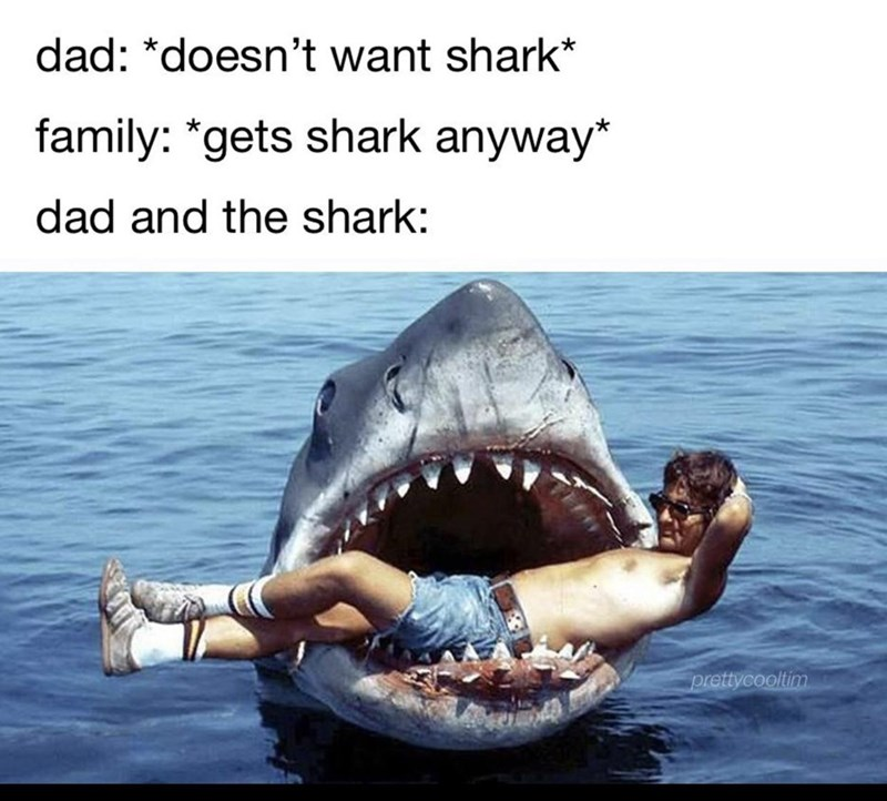 Fish - dad: *doesn't want shark* family: *gets shark anyway* dad and the shark: prettycooltim