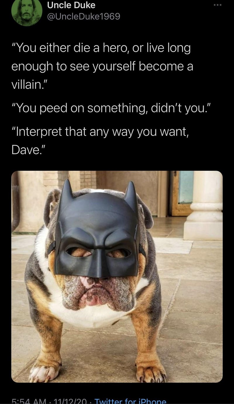 """Dog - Uncle Duke @UncleDuke1969 """"You either die a hero, or live long enough to see yourself become a villain."""" """"You peed on something, didn't you."""" """"Interpret that any way you want, Dave."""" 5:54 AM.11/12/20· Twitter for iPhone."""