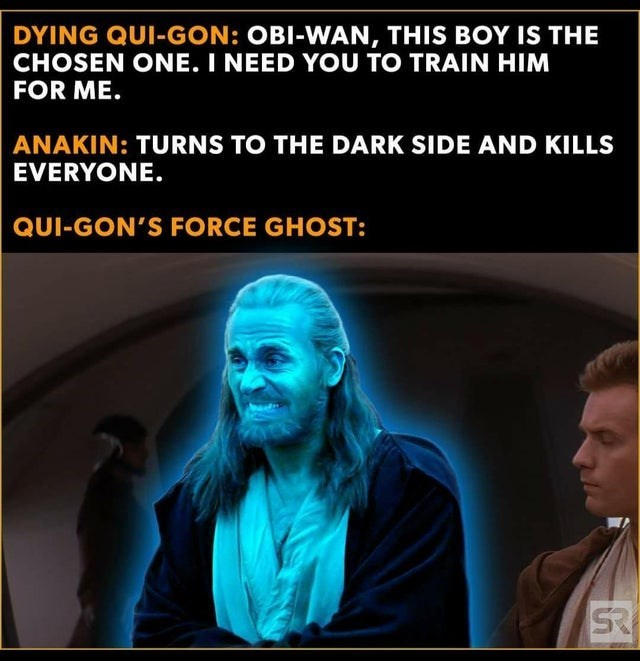 Text - DYING QUI-GON: OBI-WAN, THIS BOY IS THE CHOSEN ONE. I NEED YOU TO TRAIN HIM FOR ME. ANAKIN: TURNS TO THE DARK SIDE AND KILLS EVERYONE. QUI-GON'S FORCE GHOST: SR