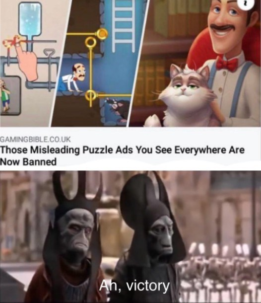 Cartoon - GAMINGBIBLE.CO.UK Those Misleading Puzzle Ads You See Everywhere Are Now Banned An, victory