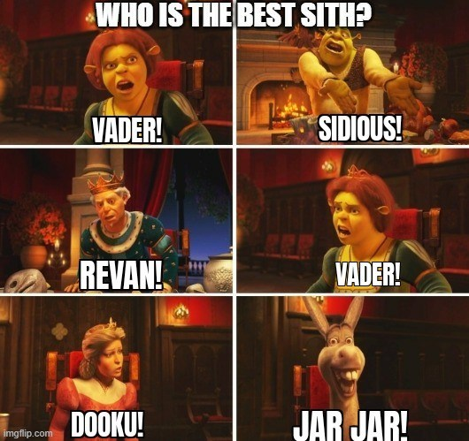 Font - WHO IS THE BEST SITH? VADER! SIDIOUS! REVAN! VADER! DOOKU! JAR JAR! imgflip.com