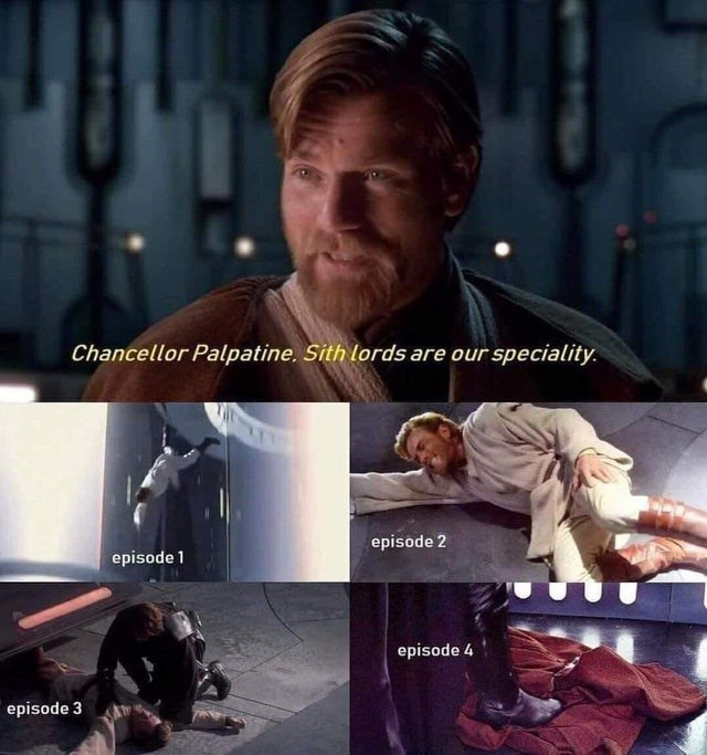 Photo caption - Chancellor Palpatine, Sith lords are our speciality. episode 2 episode 1 episode 4 episode 3