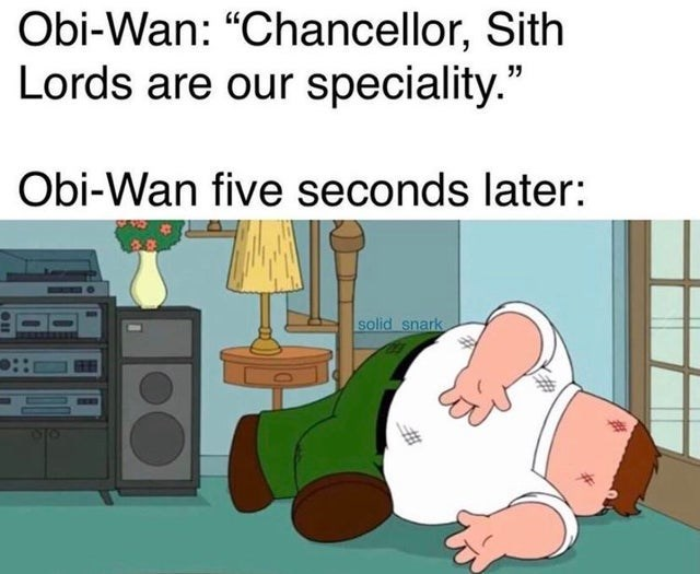 """Cartoon - Obi-Wan: """"Chancellor, Sith Lords are our speciality."""" Obi-Wan five seconds later: solid snark"""