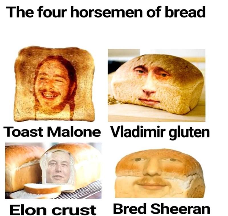 Head - The four horsemen of bread Toast Malone Vladimir gluten Elon crust Bred Sheeran