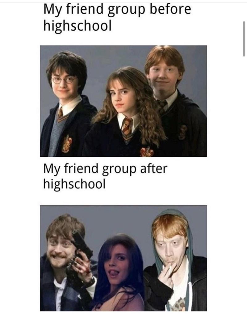 Hair - My friend group before highschool My friend group after highschool